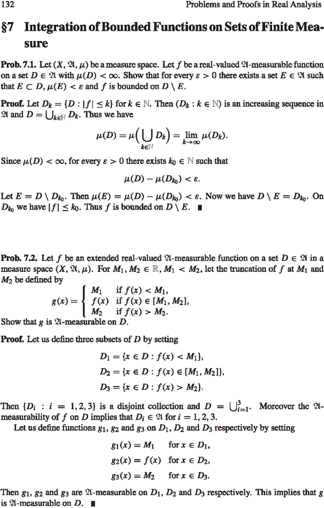 Integration of Bounded Functions on Sets of Finite Measure