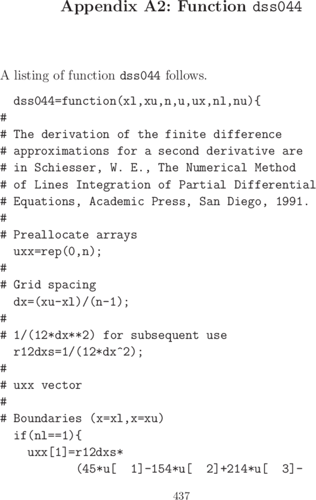 Appendix A2 Function Dss044 A Mathematical Modeling Approach To
