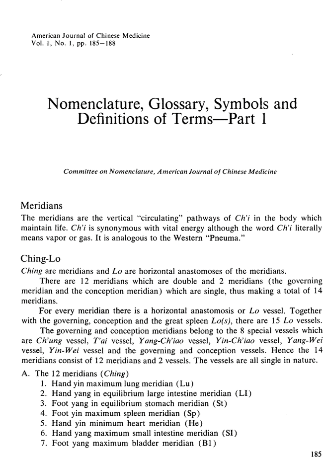 Nomenclature Glossary Symbols And Definitions Of Terms Part I
