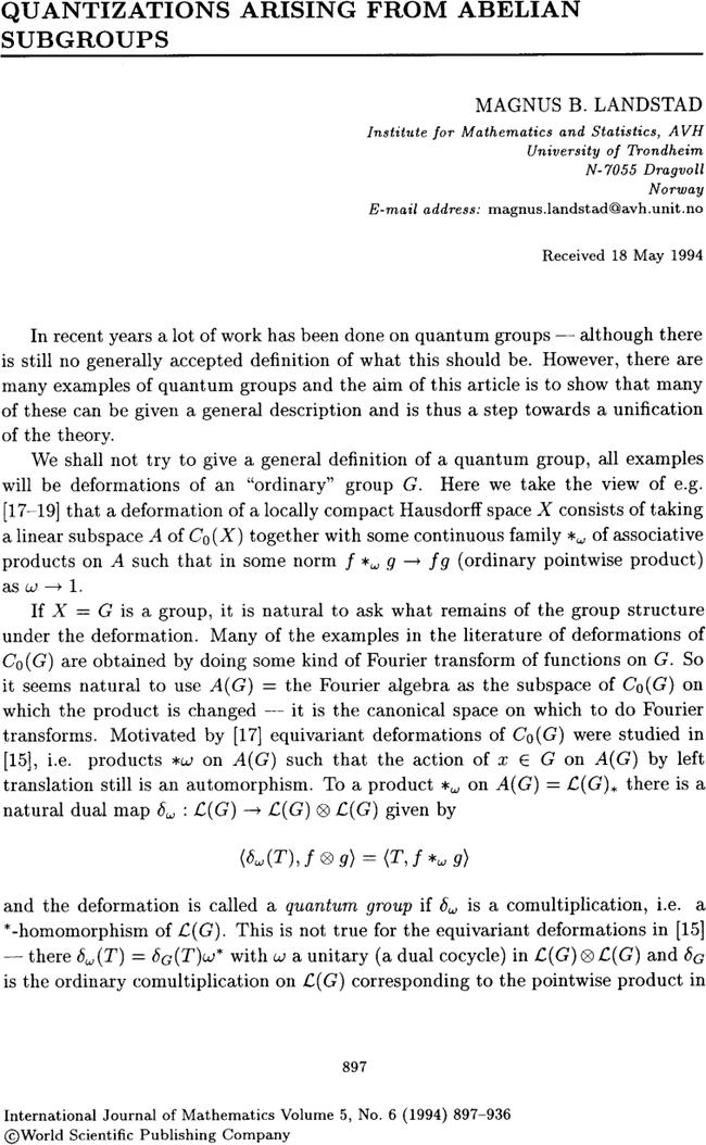 quantizations arising from abelian subgroups international journal