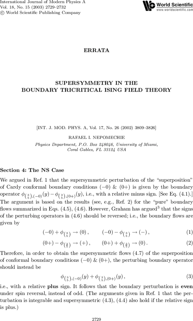 Errata Supersymmetry In The Boundary Tricritical Ising Field Theory