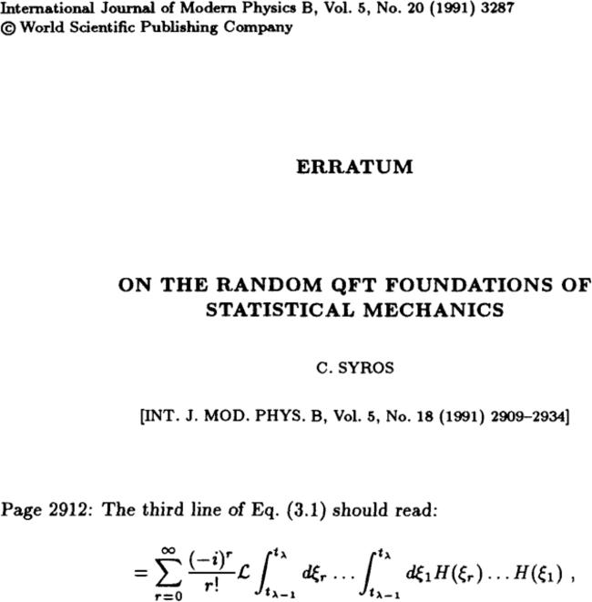 ERRATUM: ON THE RANDOM QFT FOUNDATIONS OF STATISTICAL
