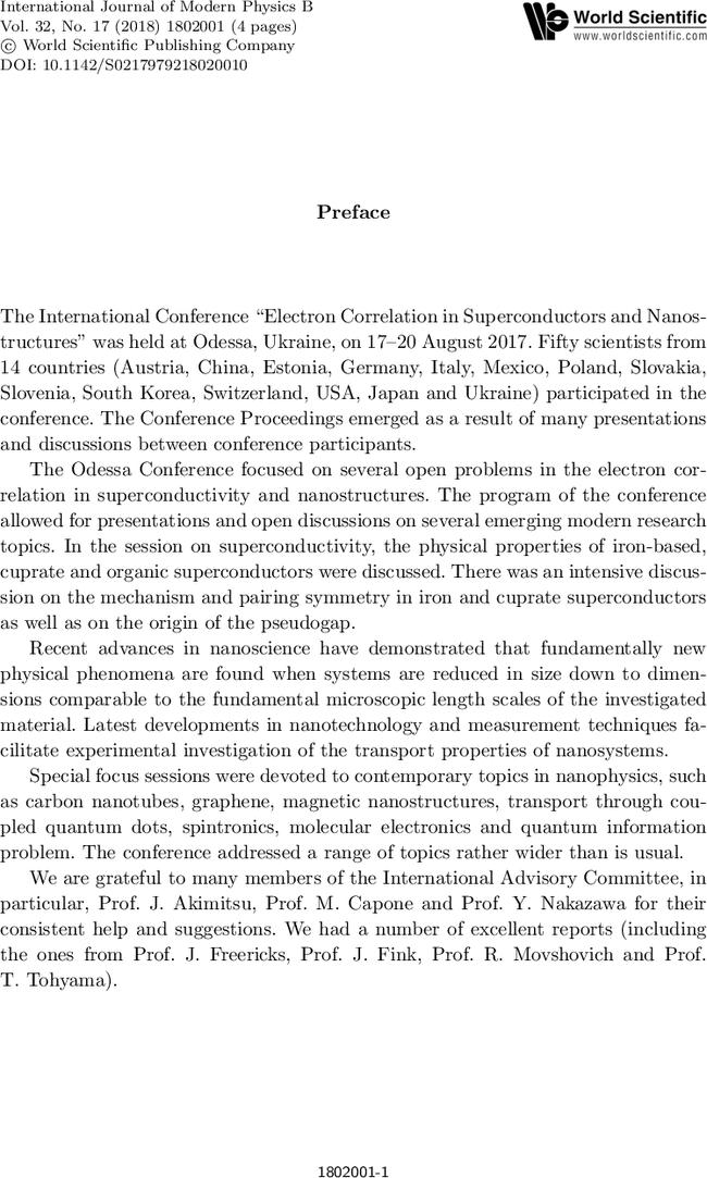Preface | International Journal of Modern Physics B
