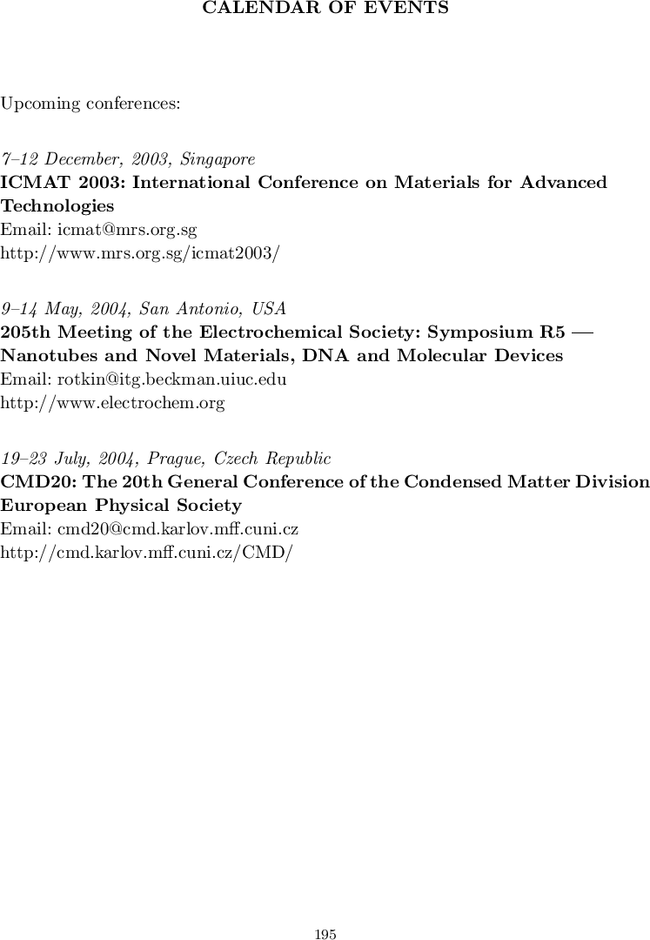 Calendar Of Events International Journal Of Nanoscience