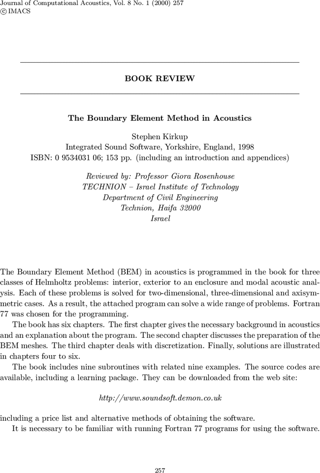 Book review the boundary element method in acoustics by stephen free first page publicscrutiny Image collections