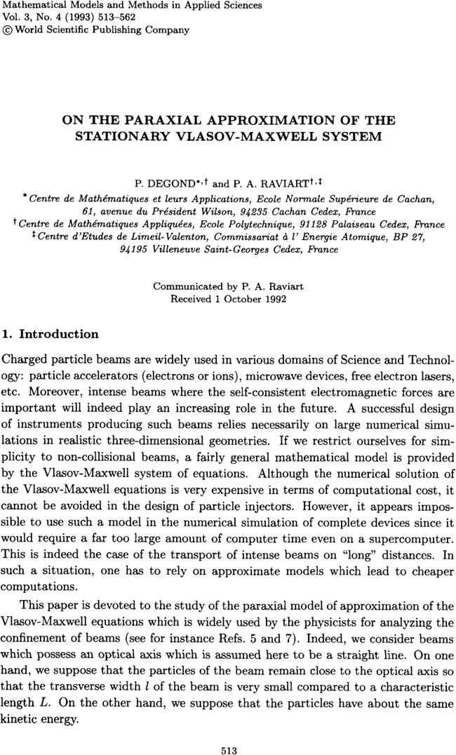 ON THE PARAXIAL APPROXIMATION OF STATIONARY VLASOV MAXWELL