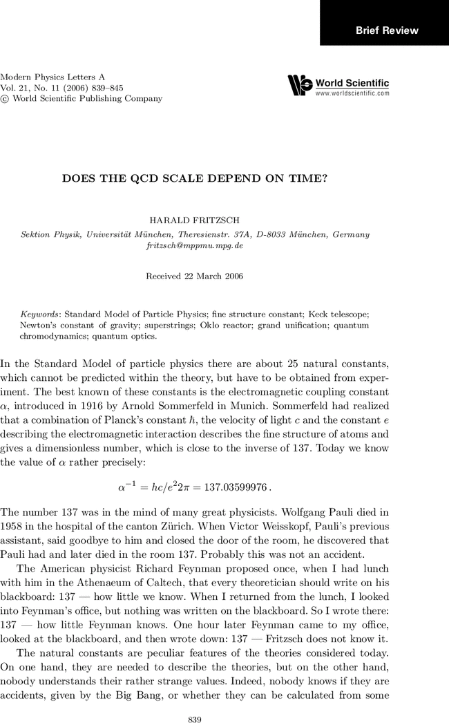 DOES THE QCD SCALE DEPEND ON TIME? | Modern Physics Letters A